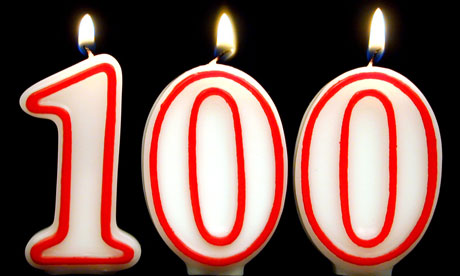 Centenarian birthday candles spell out '100'